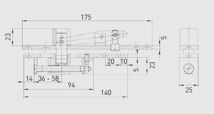 G-6666 GEZE Type C top centre comp for D A wood and metal